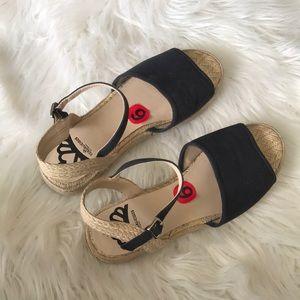 Fergalicious Black Wedge Espadrille Sandal 6